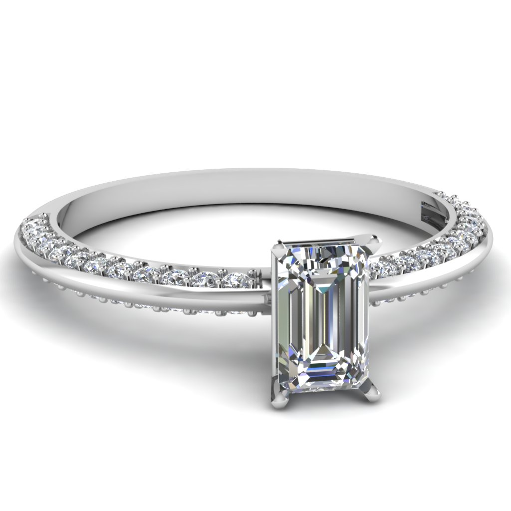 0.75 Ct. Emerald Cut Diamond Engagement Ring For Womens
