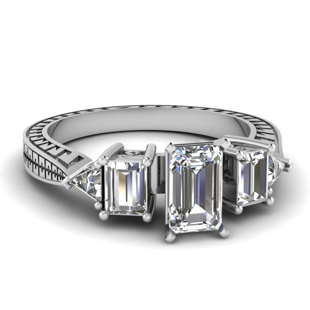 engraved trillion emerald cut diamond engagement ring in FDENR1196EMR NL WG