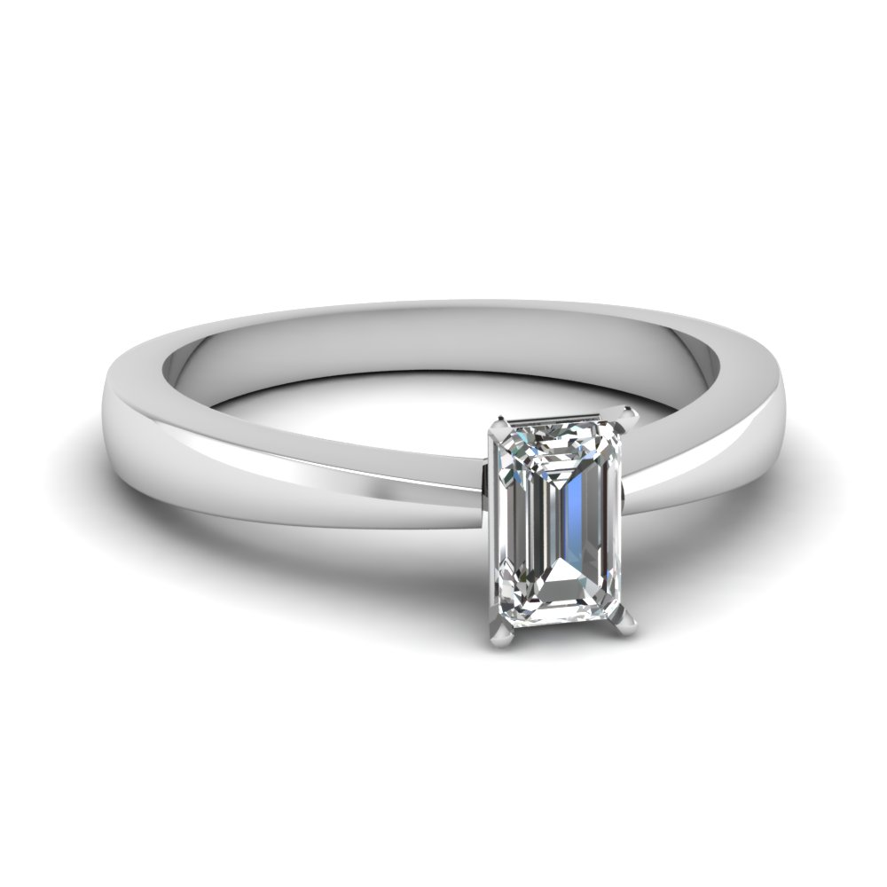 tapered traditional solitaire emerald cut engagement ring in FDENR1282EMR NL WG