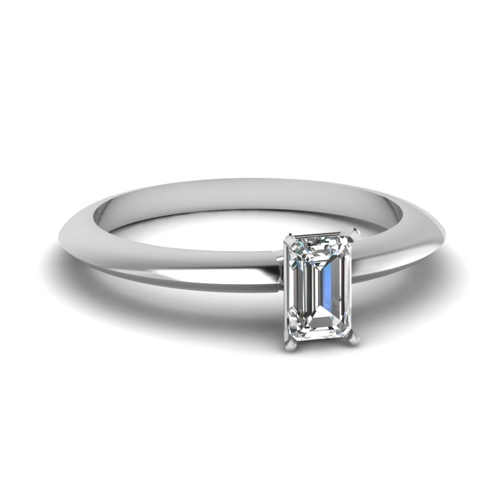 emerald cut knife edge solitaire engagement ring in FDENR1283EMR NL WG
