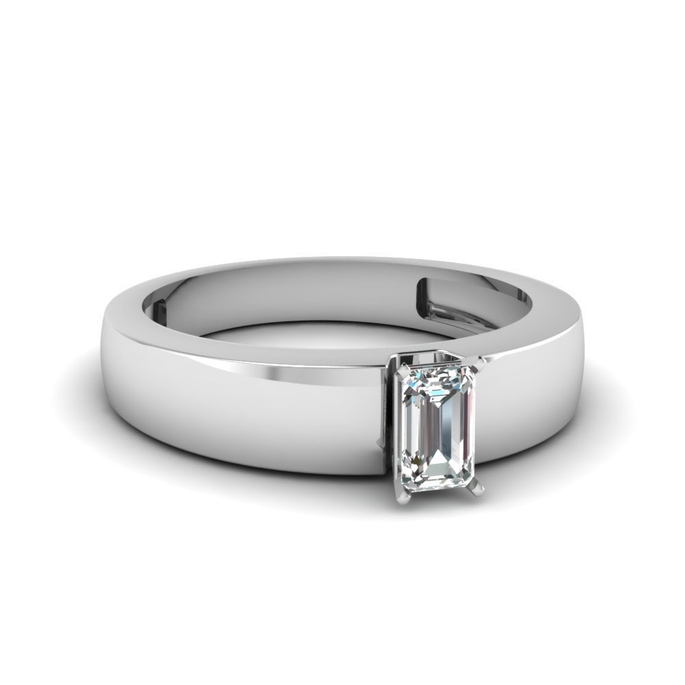 flat solitaire emerald cut engagement ring in FDENR1843EMR NL WG