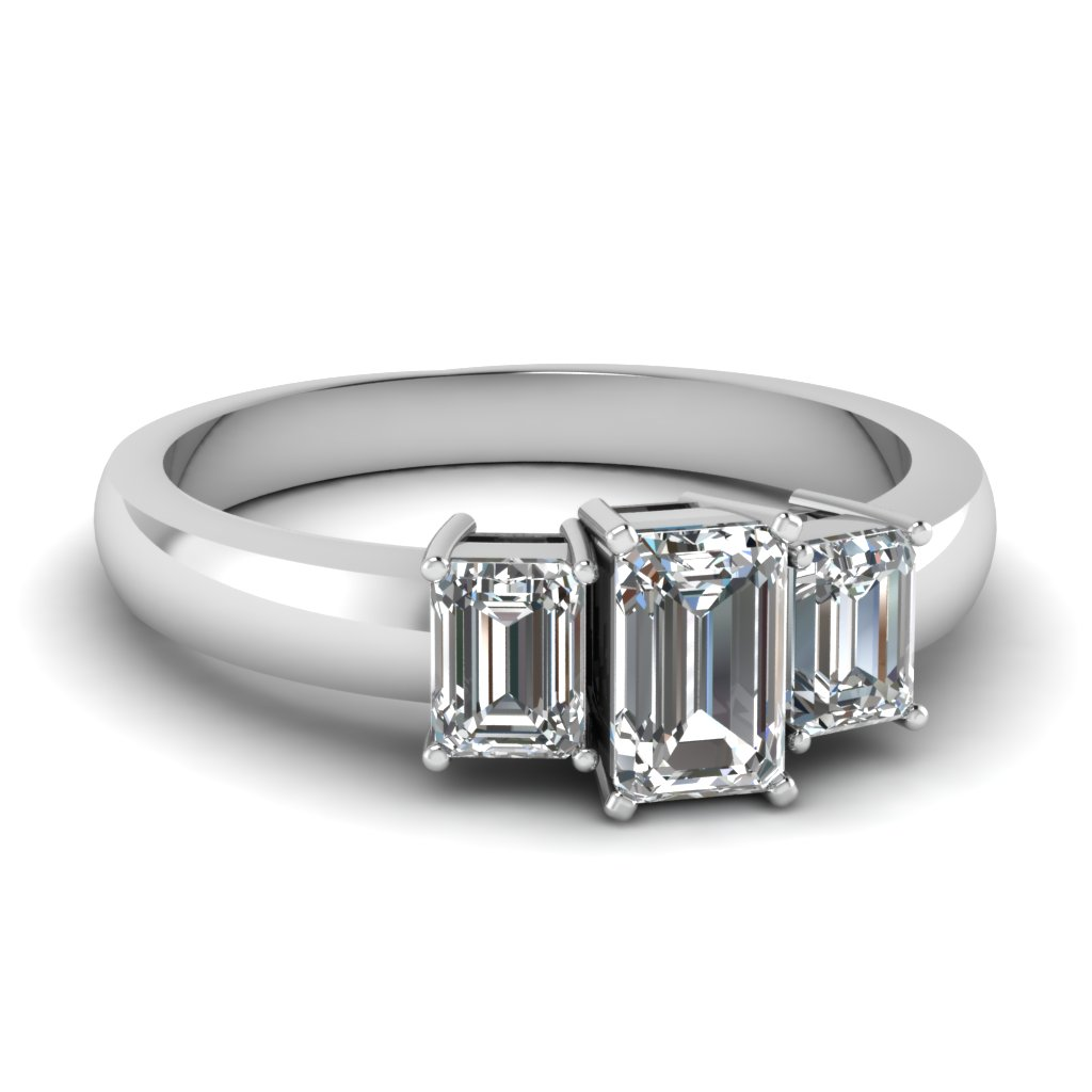 emerald cut 3 stone engagement ring in FDENR2748EMR NL WG