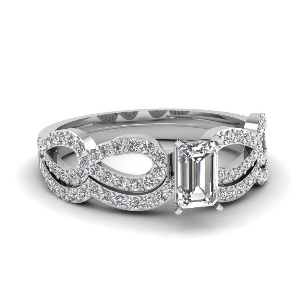 emerald cut diamond infinity loop bridal set in FDENS3040EM NL WG 30