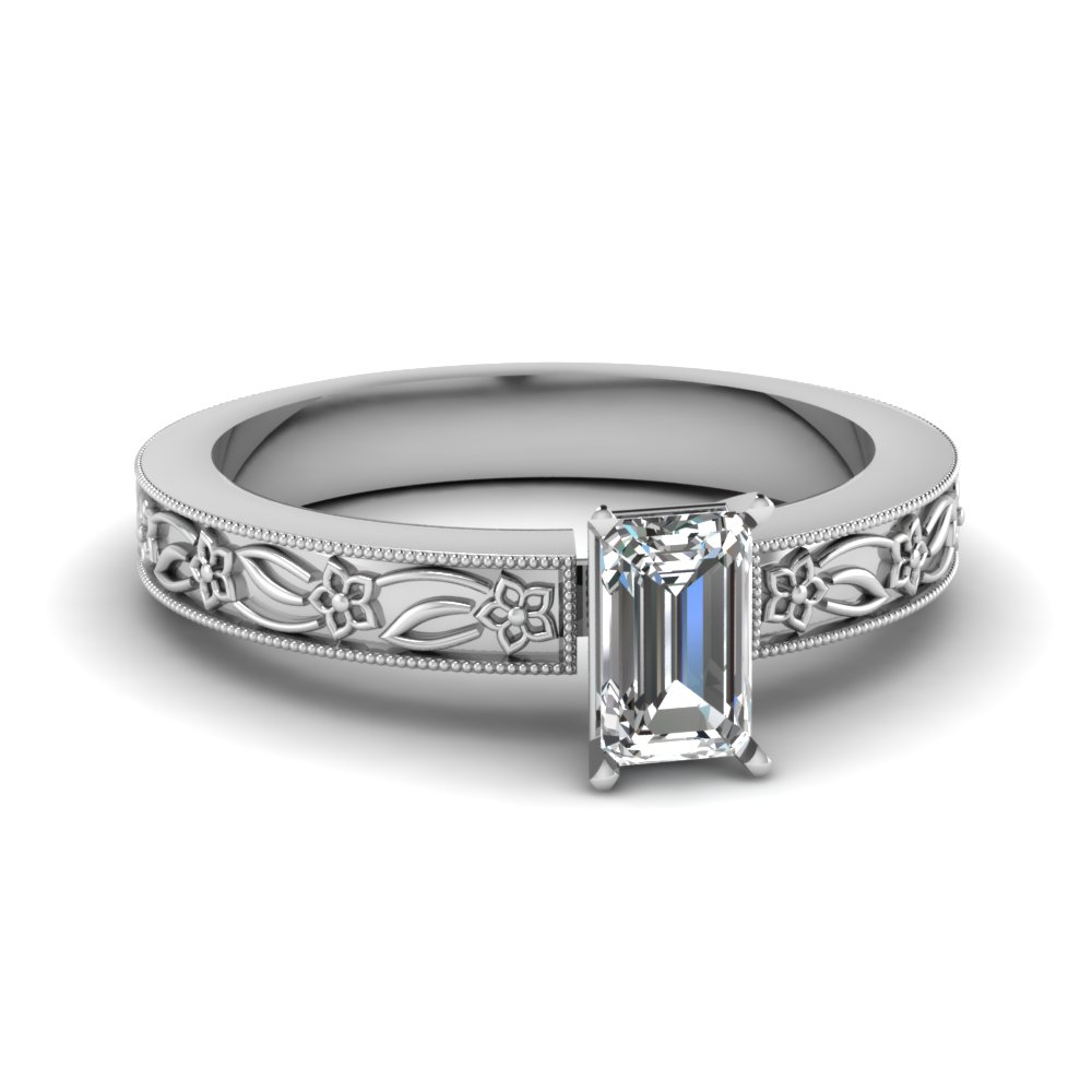 engraved flower emerald cut solitaire engagement ring in FDENS3537EMR NL WG