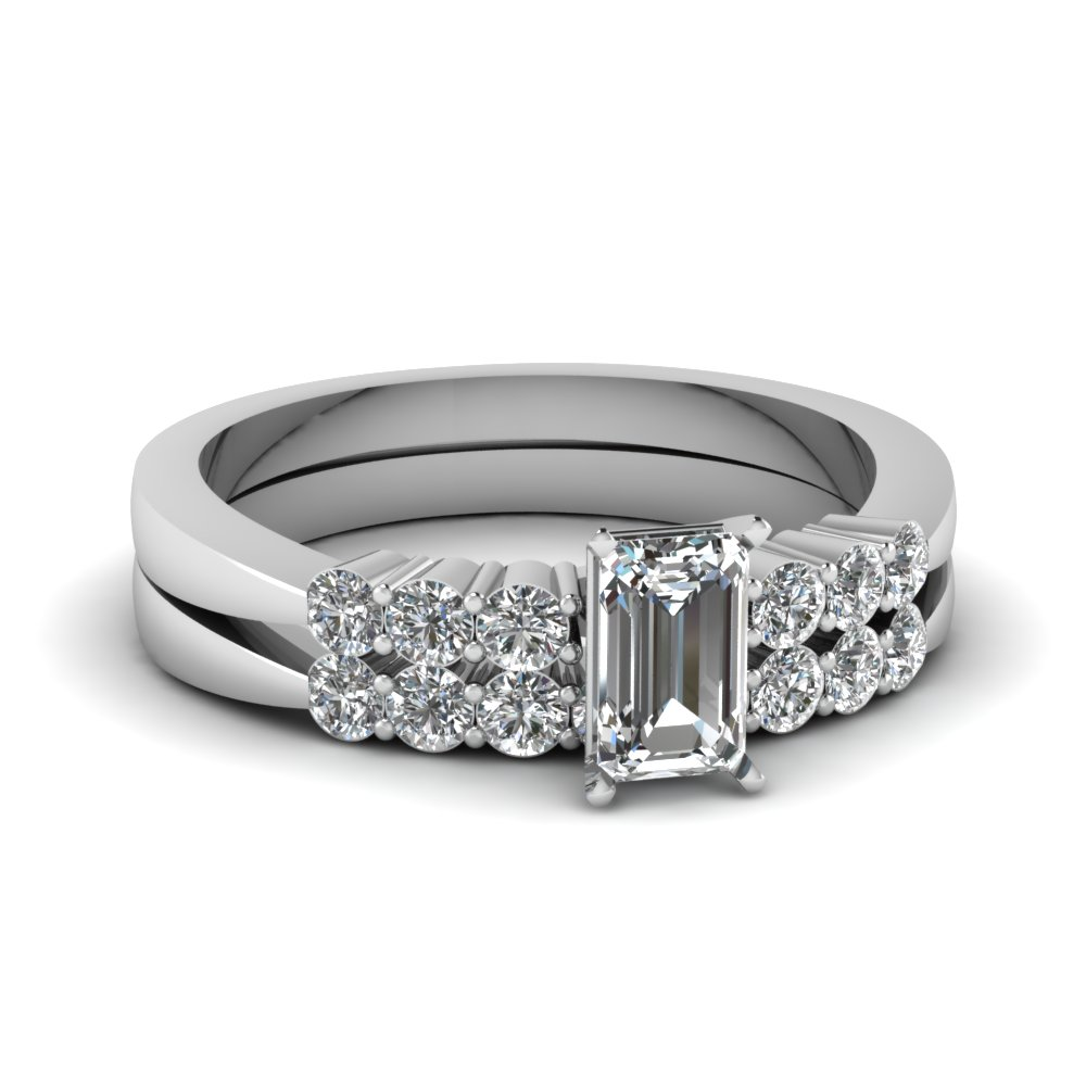 Emerald Cut Tapered 7 Stone Wedding Ring Set In 950 Platinum