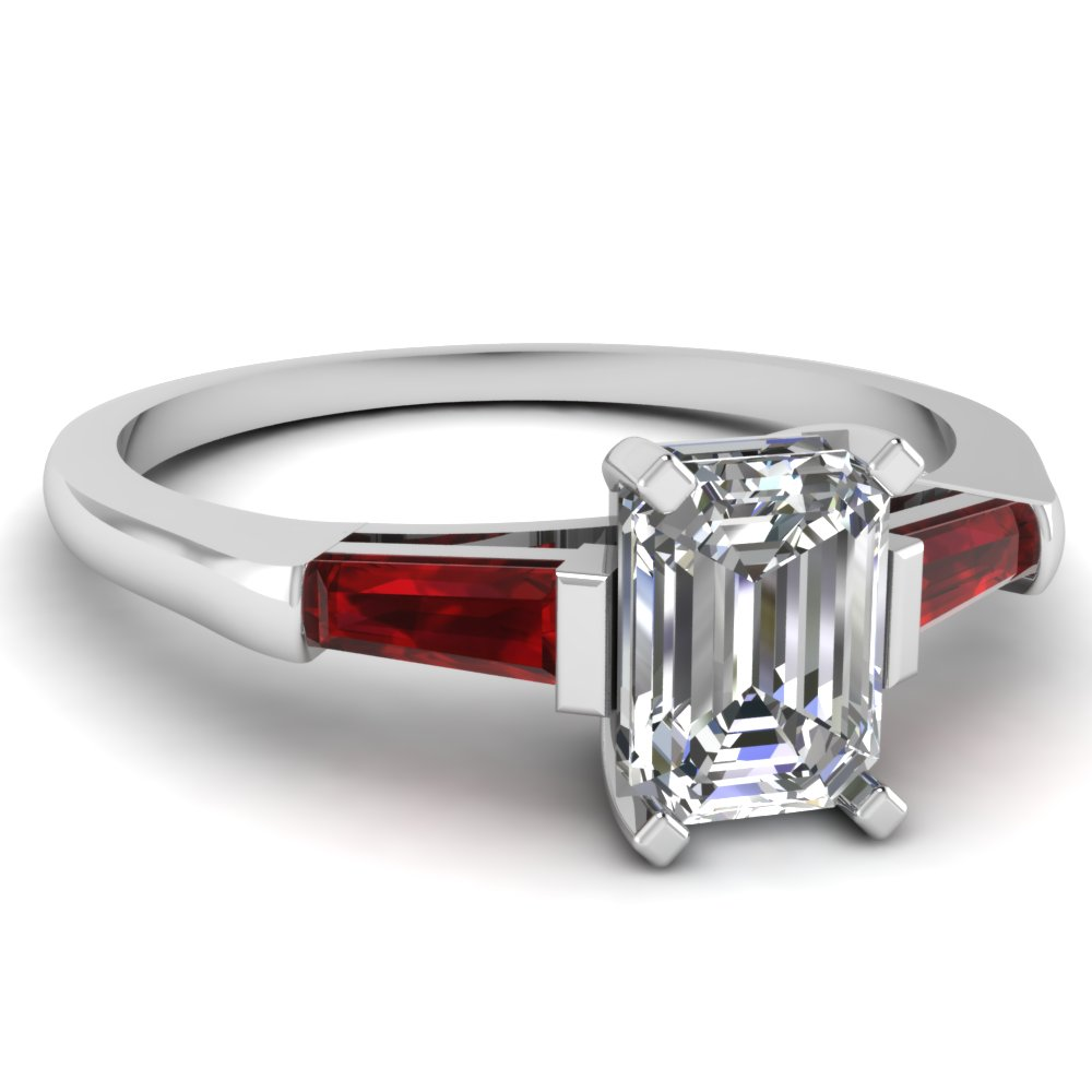 Trio 3 Stone Ruby Engagement Rings