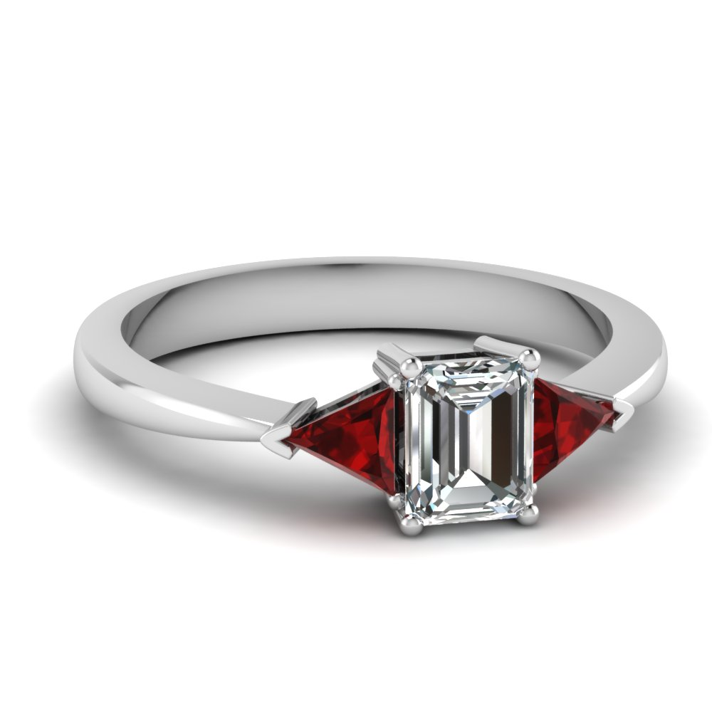 tapered trillion 3 stone emerald cut engagement ring with ruby in FDENR419EMRGRUDR NL WG