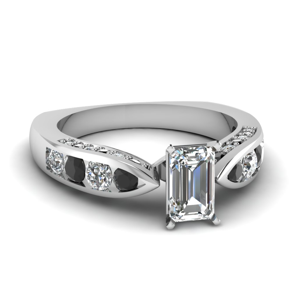 tapered emerald cut engagement ring with black diamond in FDENR2916EMRGBLACK NL WG