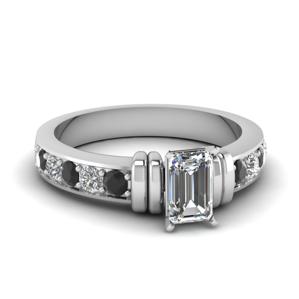 simple bar set emerald cut engagement ring with black diamond in FDENR957EMRGBLACK Nl WG