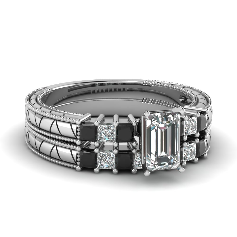 emerald cut petite vintage wedding ring set with black diamond in FDENS3227EMGBLACK NL WG