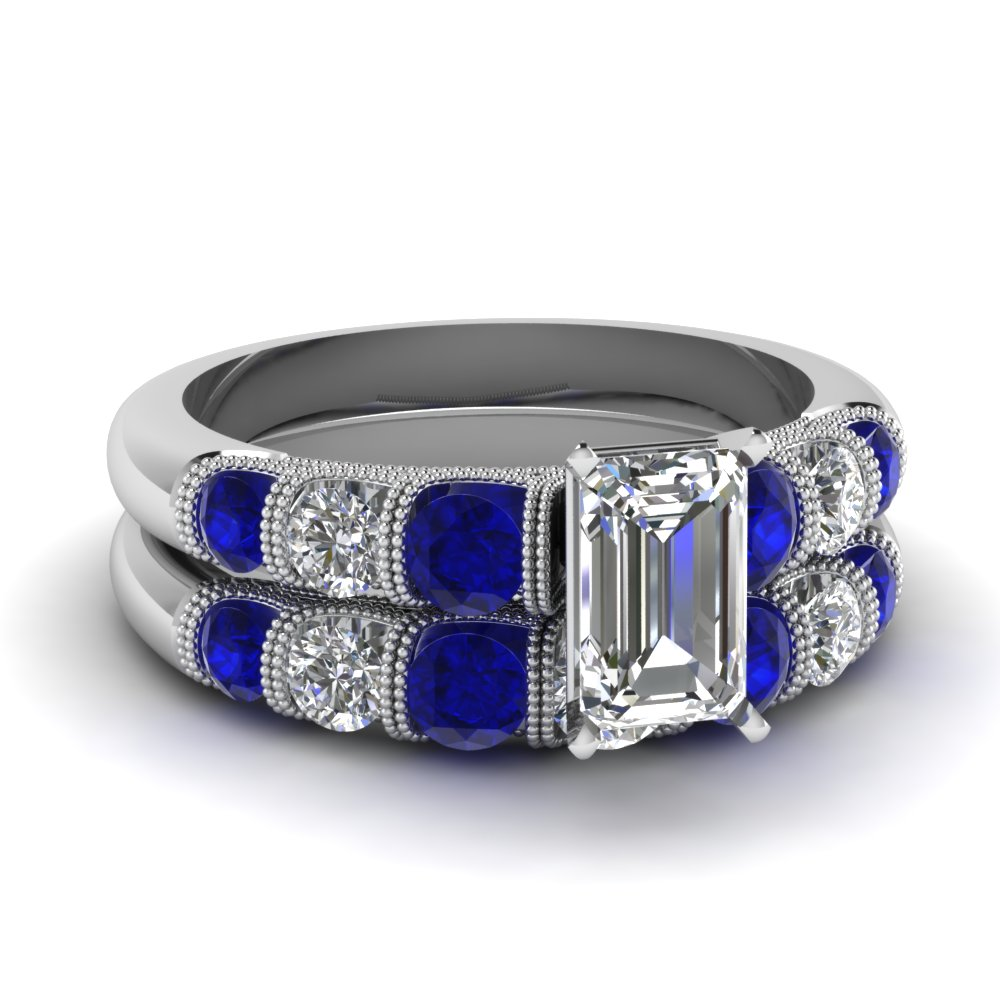 milgrain prong bar set emerald cut diamond wedding ring set with sapphire in FDENS1783EMGSABL NL WG