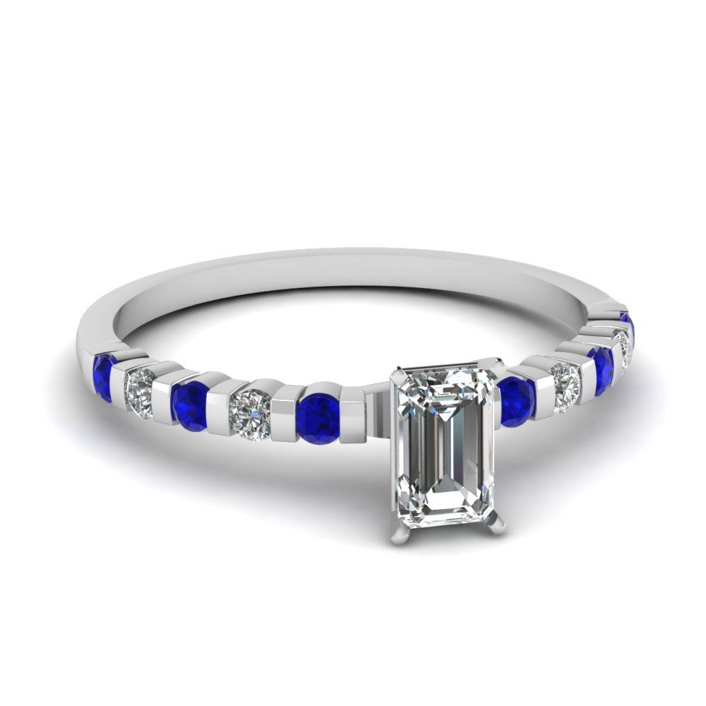 Emerald Cut Diamond And Sapphire Engagement Ring