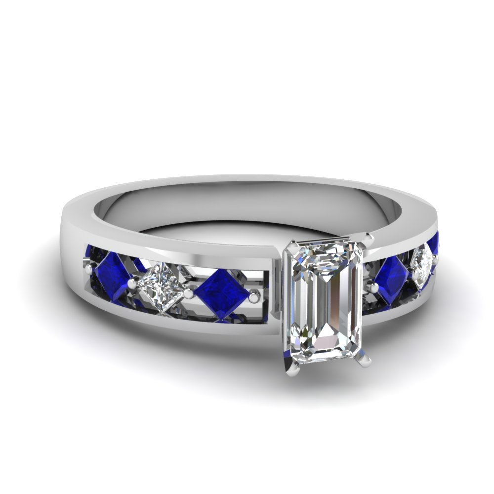 Kite Series Blue Sapphire Side Stone Engagement Ring
