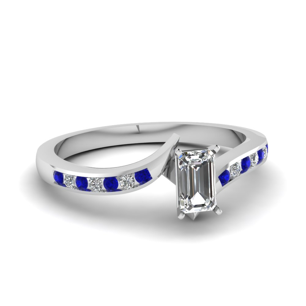twist channel emerald cut diamond engagement ring with sapphire in FDENS3094EMRGSABL NL WG 30