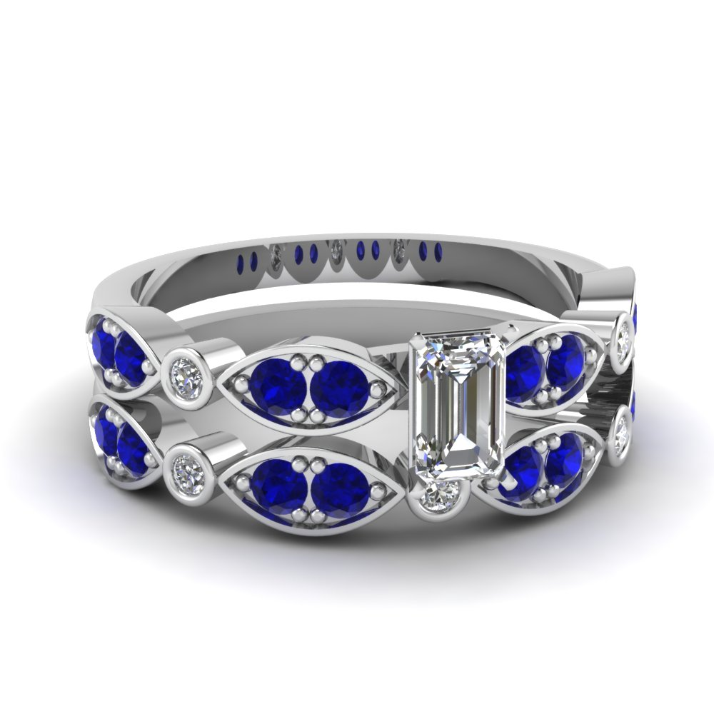 white-gold-emerald-white-diamond-engagement-wedding-ring-with-blue-sapphire-in-pave-bezel-set-FDENS2035EMGSABL-NL-WG