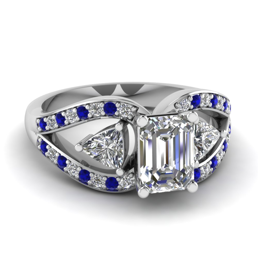 trillion butterfly emerald cut diamond engagement ring with sapphire in FD71589EMRGSABL NL WG