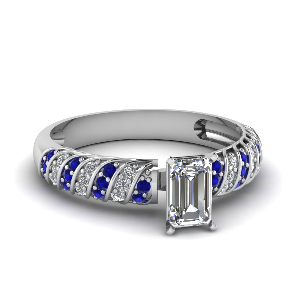 rope design emerald cut diamond engagement ring with sapphire in FDENS3048EMRGSABL NL WG 30