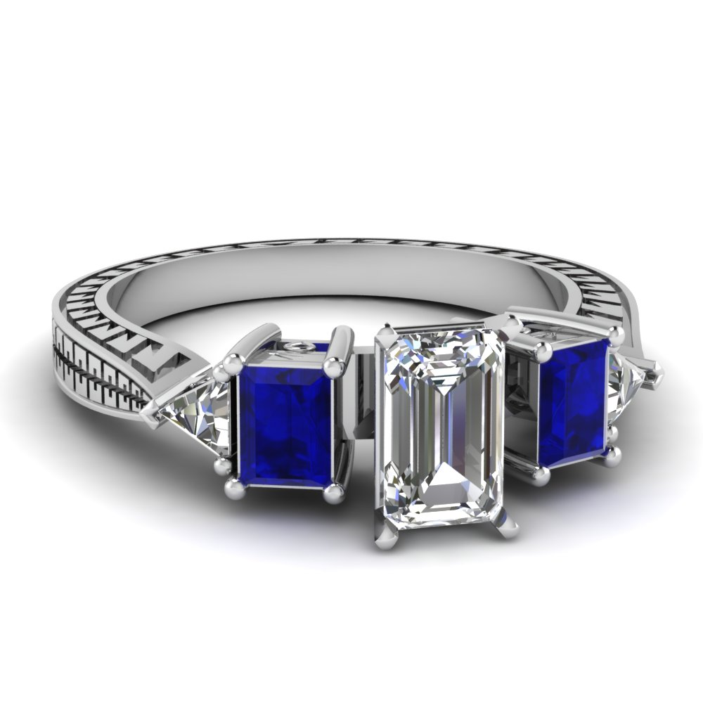 688072d940650a engraved trillion emerald cut diamond engagement ring with sapphire in  FDENR1196EMRGSABL NL WG