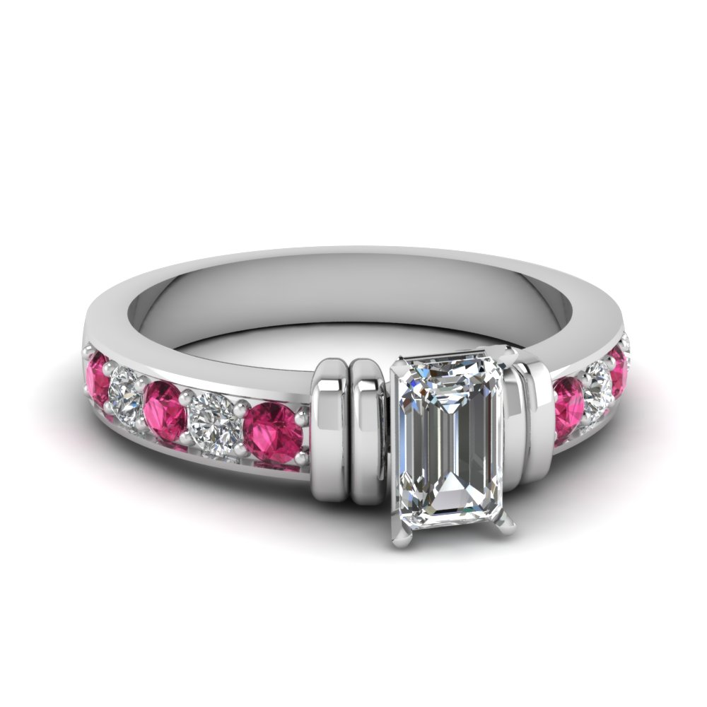 simple bar set emerald cut lab diamond engagement ring with pink sapphire in FDENR957EMRGSADRPI Nl WG