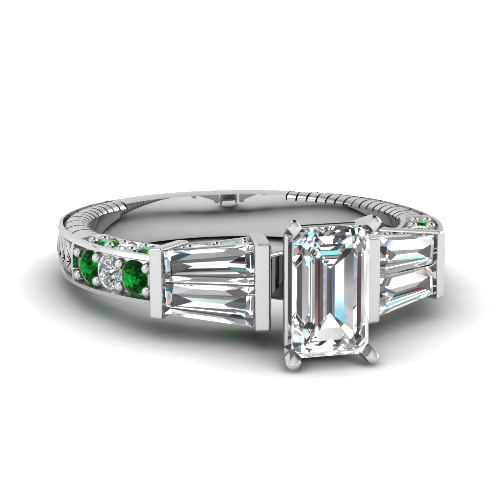 vintage baguette emerald cut diamond engagement ring with emerald in FDENS318EMRGEMGR NL WG