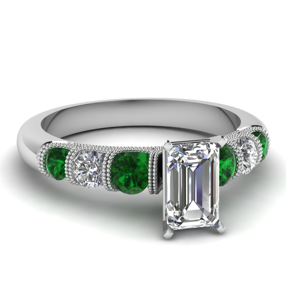 emerald cut milgrain prong bar set diamond engagement ring with emerald in FDENS1783EMRGEMGR NL WG