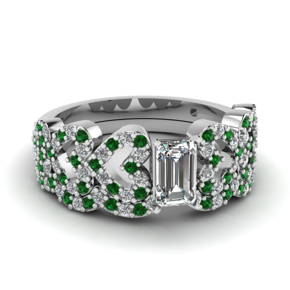 emerald cut heart design linked diamond wedding set with emerald in FDENS3051EMGEMGR NL WG.jpg