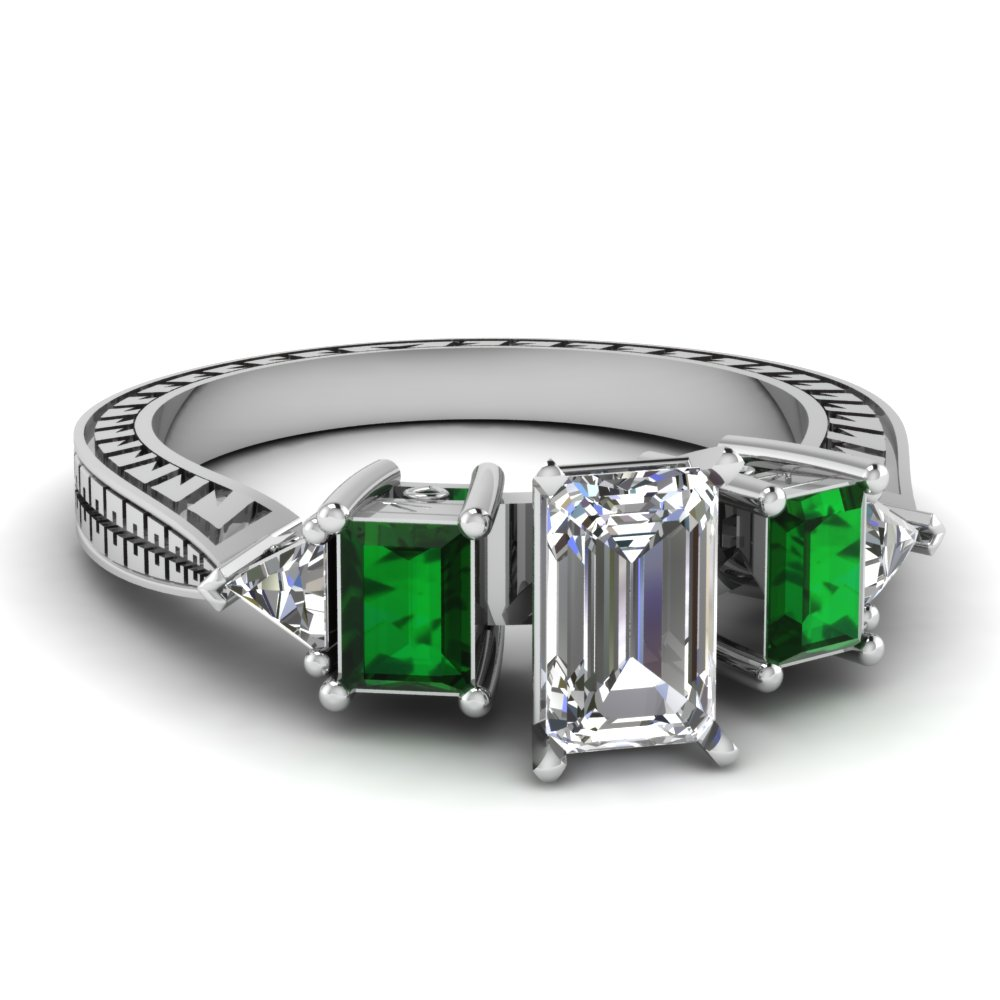 Engraved Trillion Emerald Cut Diamond Engagement Ring With