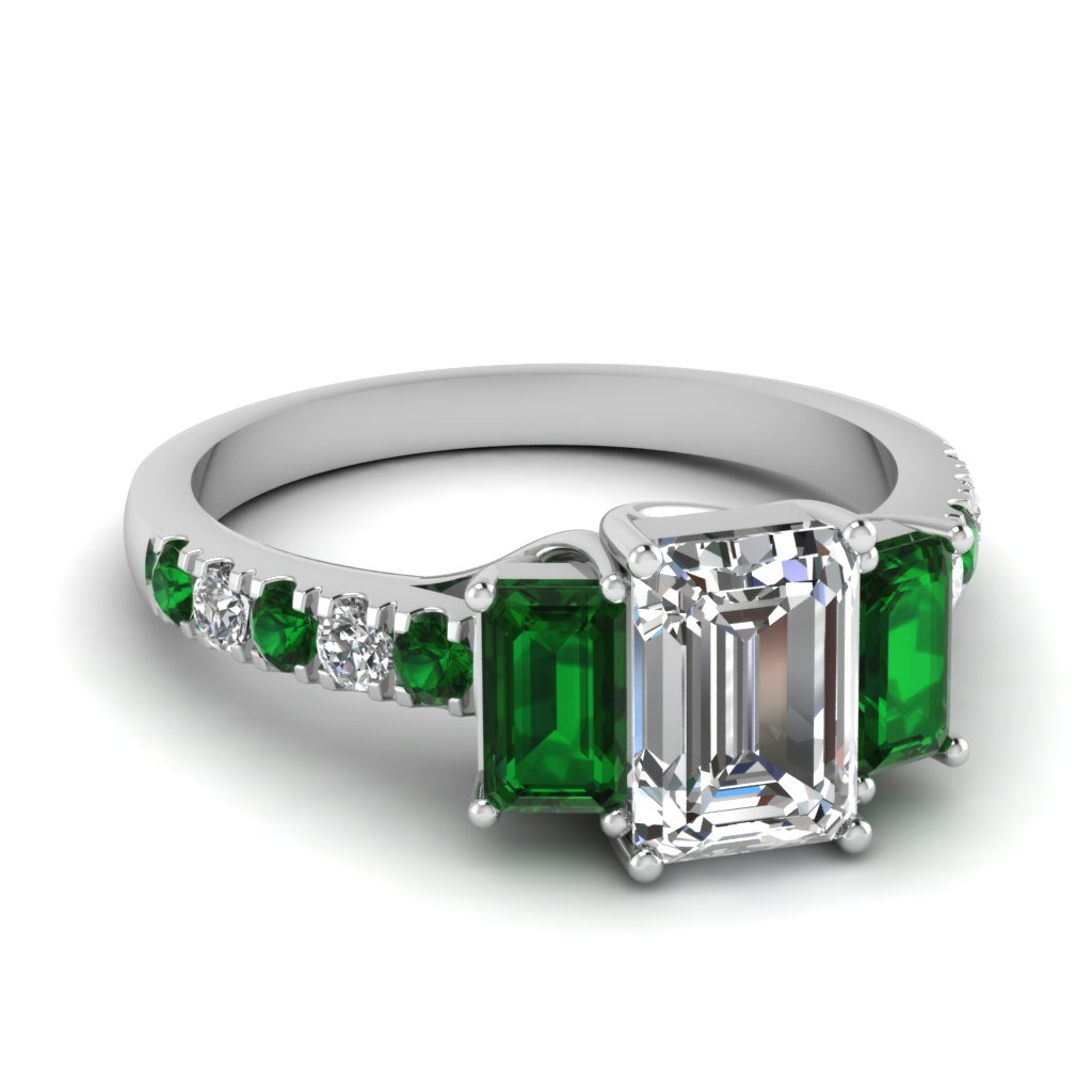 a emerald l three handcrafted jewelry carat cut ring classic engagement featuring diamond platinum certified andrea j gia stone rings side id