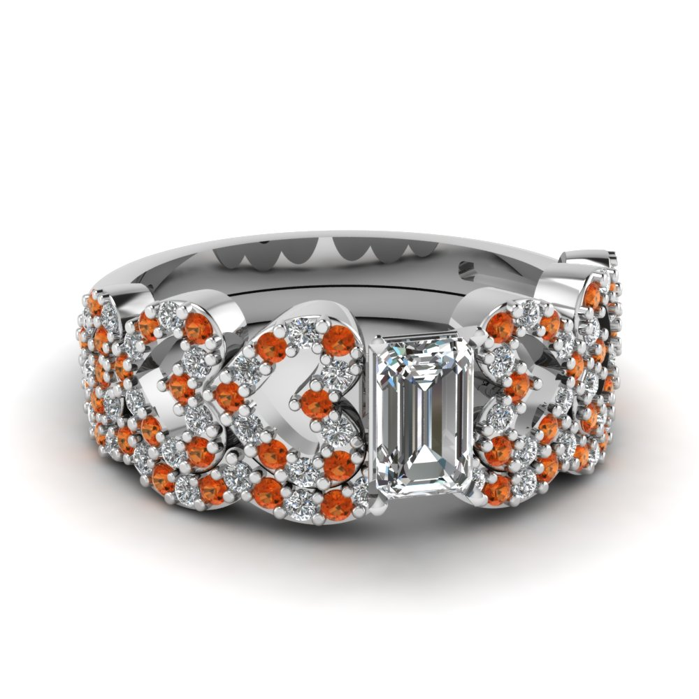 emerald cut heart design linked diamond wedding set with orange sapphire in FDENS3051EMGSAOR NL WG.jpg