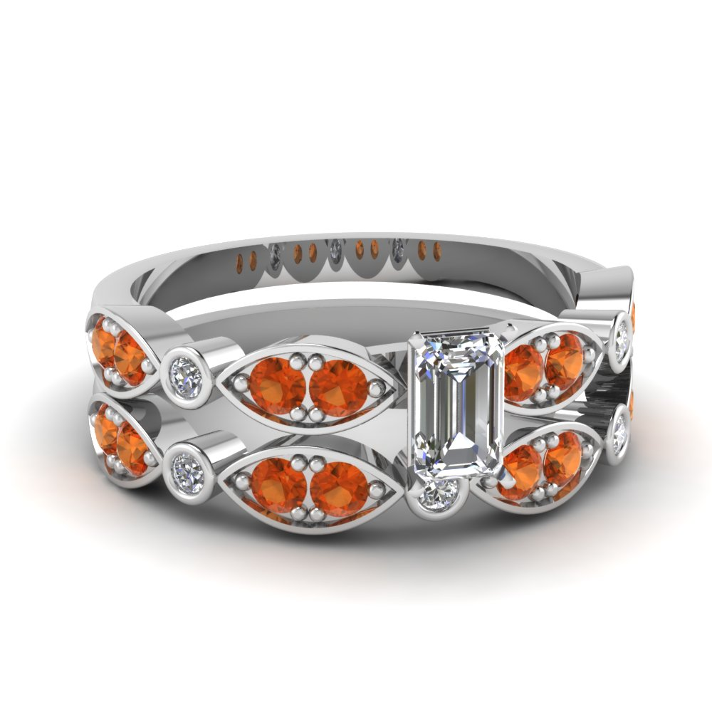 art deco emerald cut diamond wedding ring set with orange sapphire in FDENS2035EMGSAOR NL WG