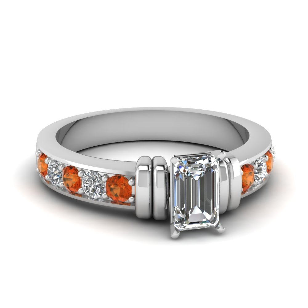 simple bar set emerald cut diamond engagement ring with orange sapphire in FDENR957EMRGSAOR Nl WG