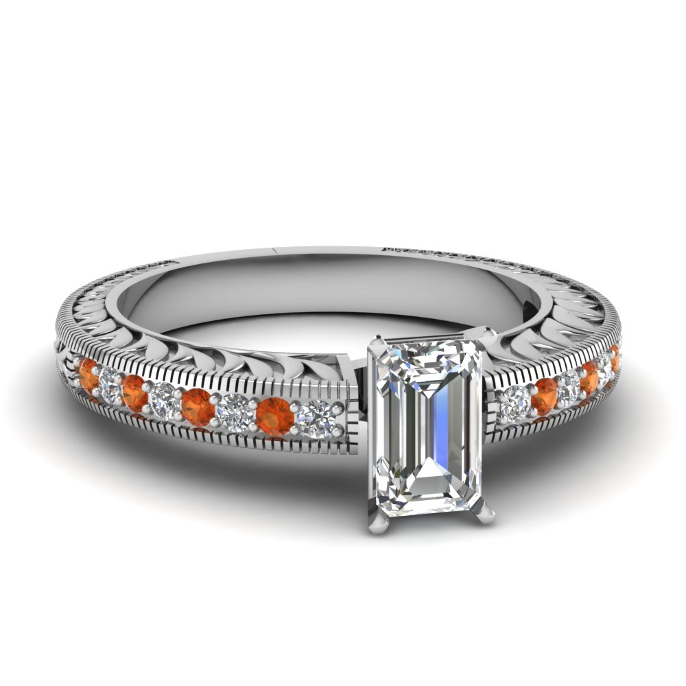 hand engraved emerald cut vintage engagement ring with orange sapphire in FDENS1790EMRGSAOR NL WG