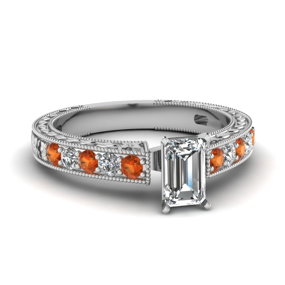 Emerald Cut Milgrain Ring with Orange Sapphires