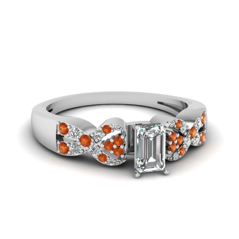 intertwined emerald cut diamond engagement ring with orange sapphire in FDENS3008EMRGSAOR NL WG 30