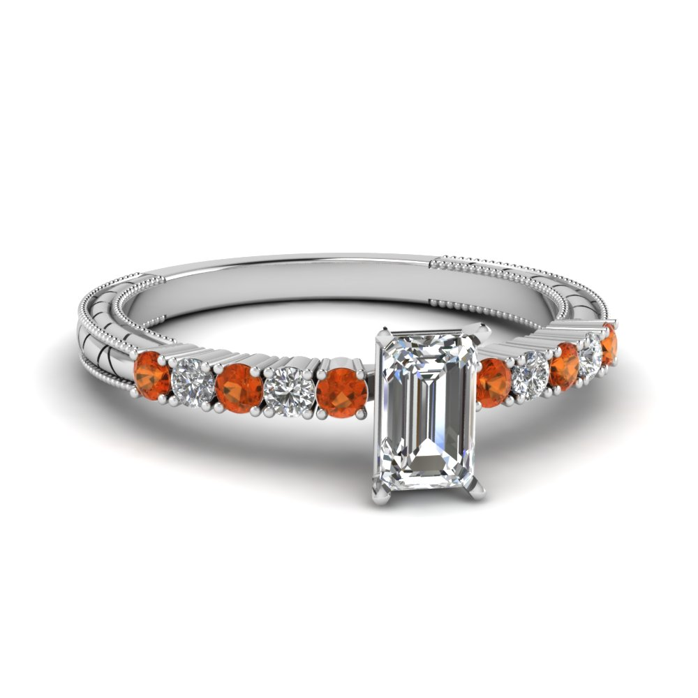 petite vintage emerald cut diamond engagement ring with orange sapphire in FDENS3228EMRGSAOR NL WG