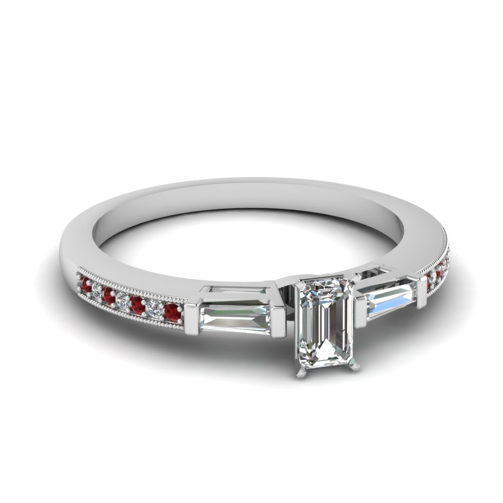 petite baguette with emerald cut diamond engagement ring with ruby in FDENS3074EMRGRUDR NL WG 30