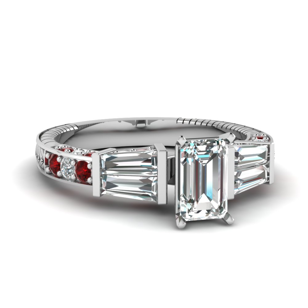 vintage baguette emerald cut diamond engagement ring with ruby in FDENS318EMRGRUDR NL WG