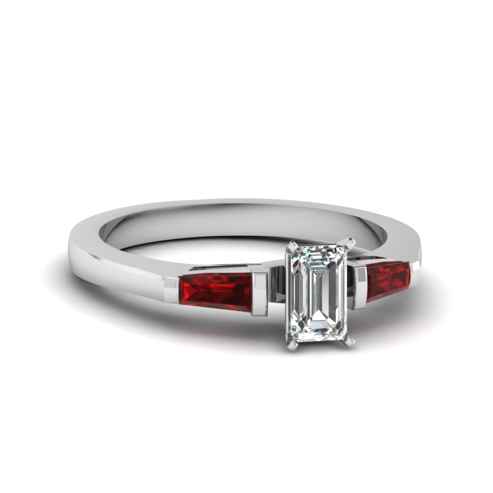 Baguette Emerald Cut Diamond Ruby Engagement Ring