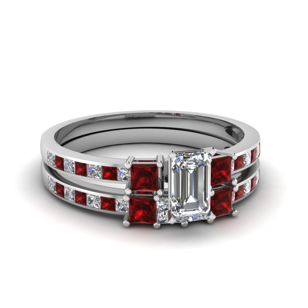 delicate 3 stone emerald cut diamond bridal set with ruby in FDENS3022EMGRUDR NL WG 30