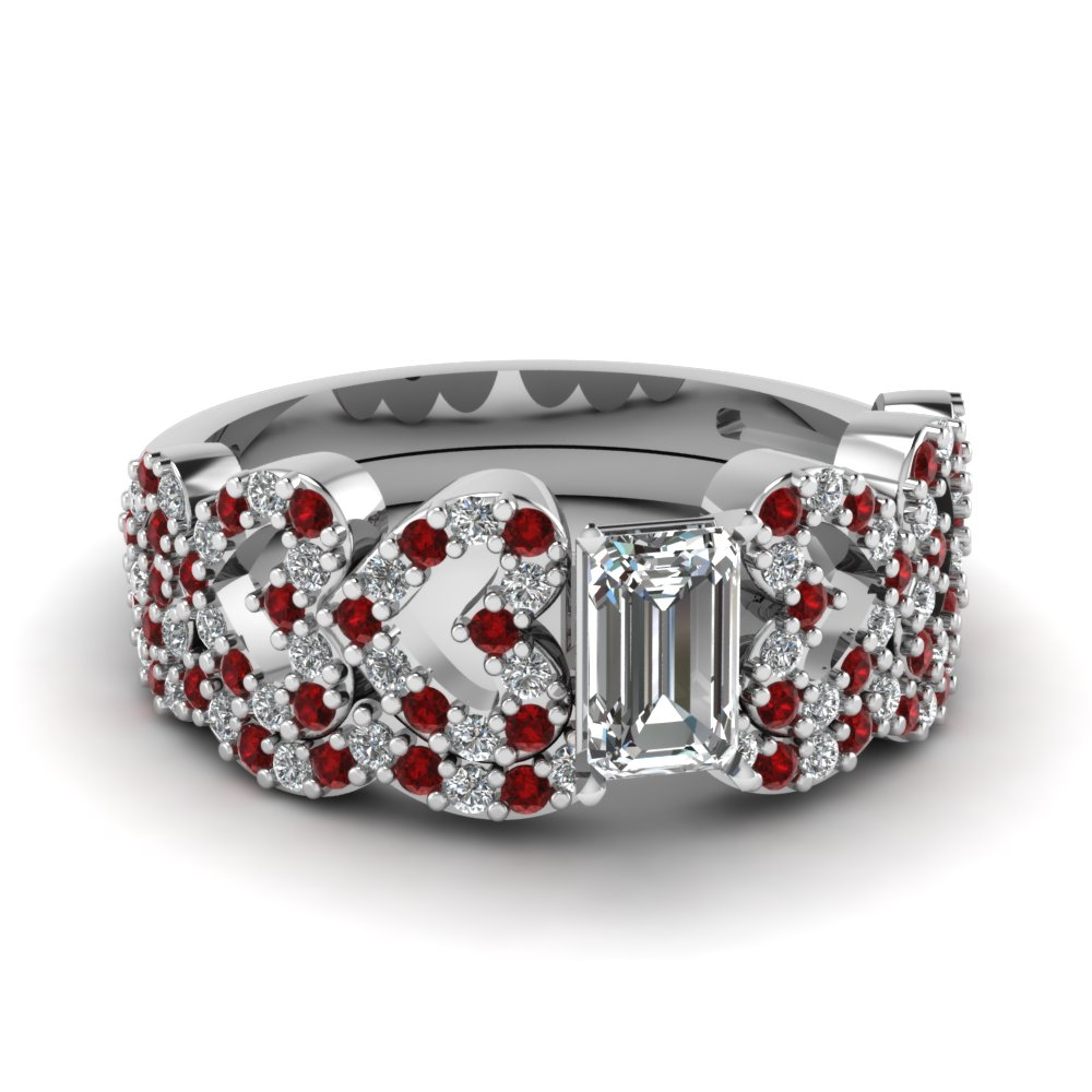 emerald cut heart design linked diamond wedding set with ruby in FDENS3051EMGRUDR NL WG.jpg