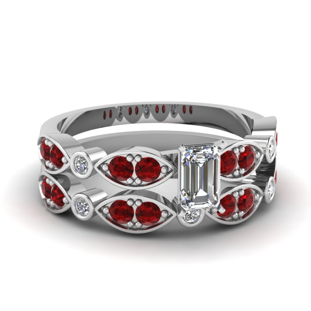 white-gold-emerald-white-diamond-engagement-wedding-ring-with-red-ruby-in-pave-bezel-set-FDENS2035EMGRUDR-NL-WG