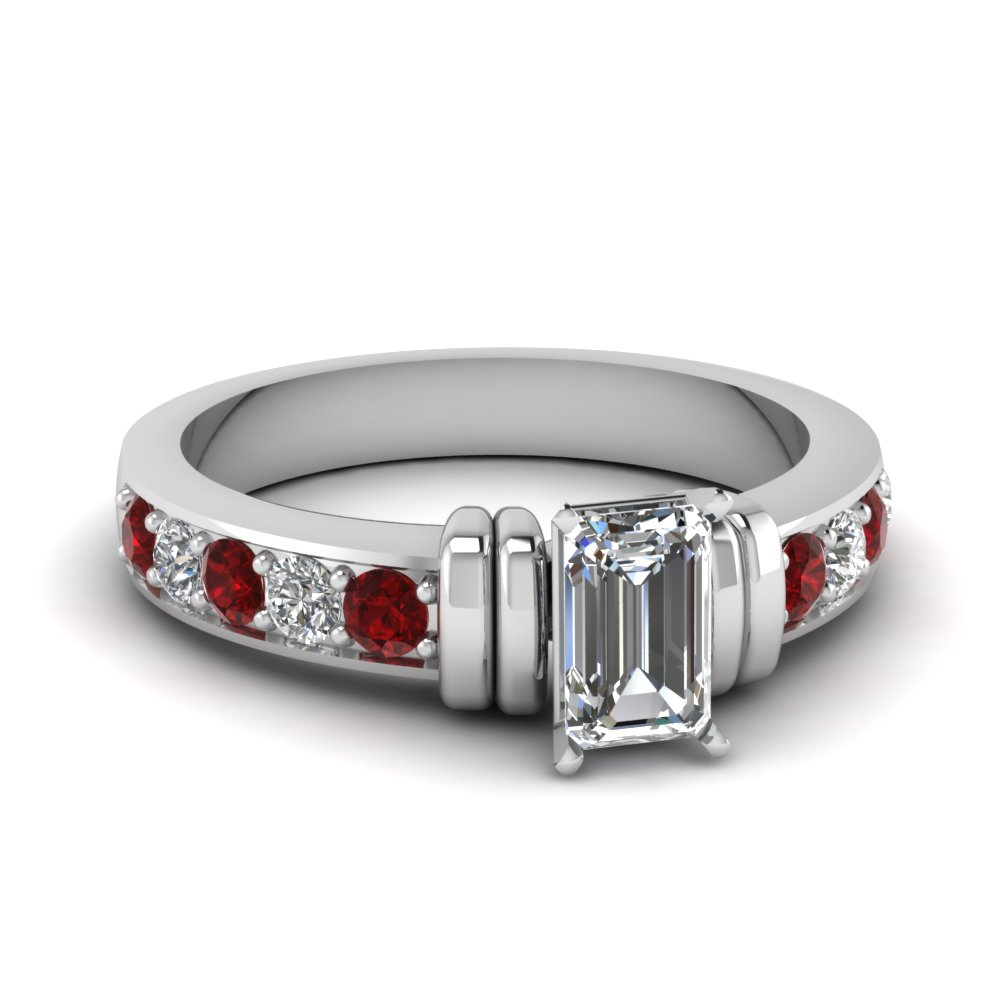 Simple Bar Set Emerald Cut Diamond Engagement Ring With Ruby In 18K White Gold