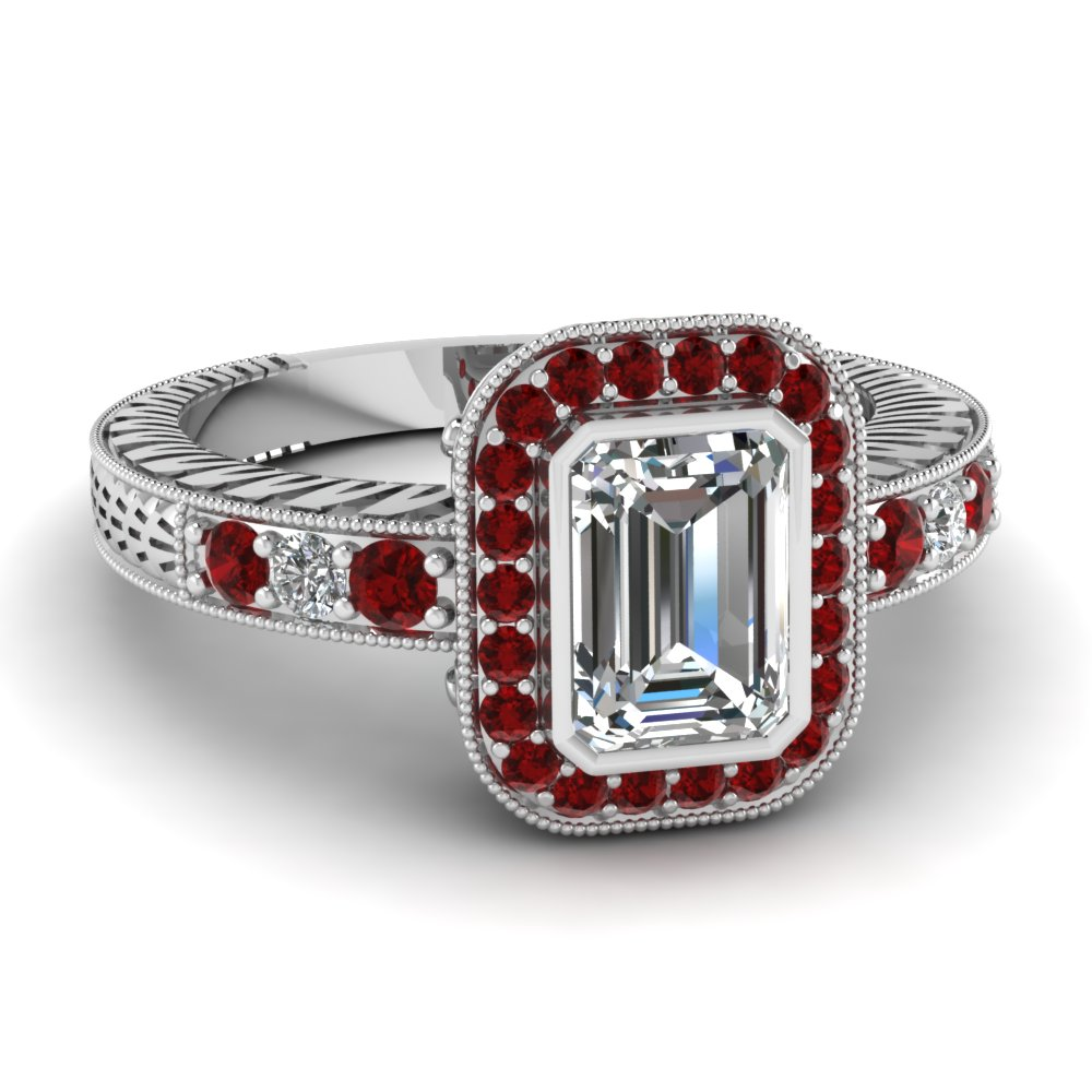 Emerald Cut Vintage Ruby Ring