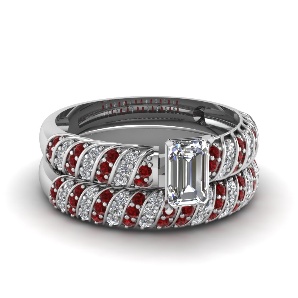 rope design emerald cut diamond wedding set with ruby in FDENS3048EMGRUDR NL WG 30