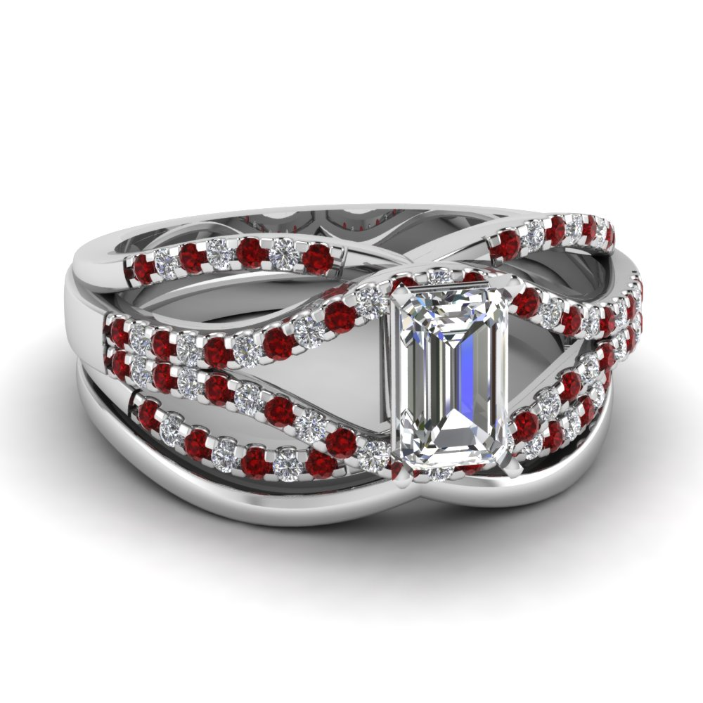 crossover multi strand emerald cut diamond wedding ring set with ruby in FD67320EMGRUDR NL WG