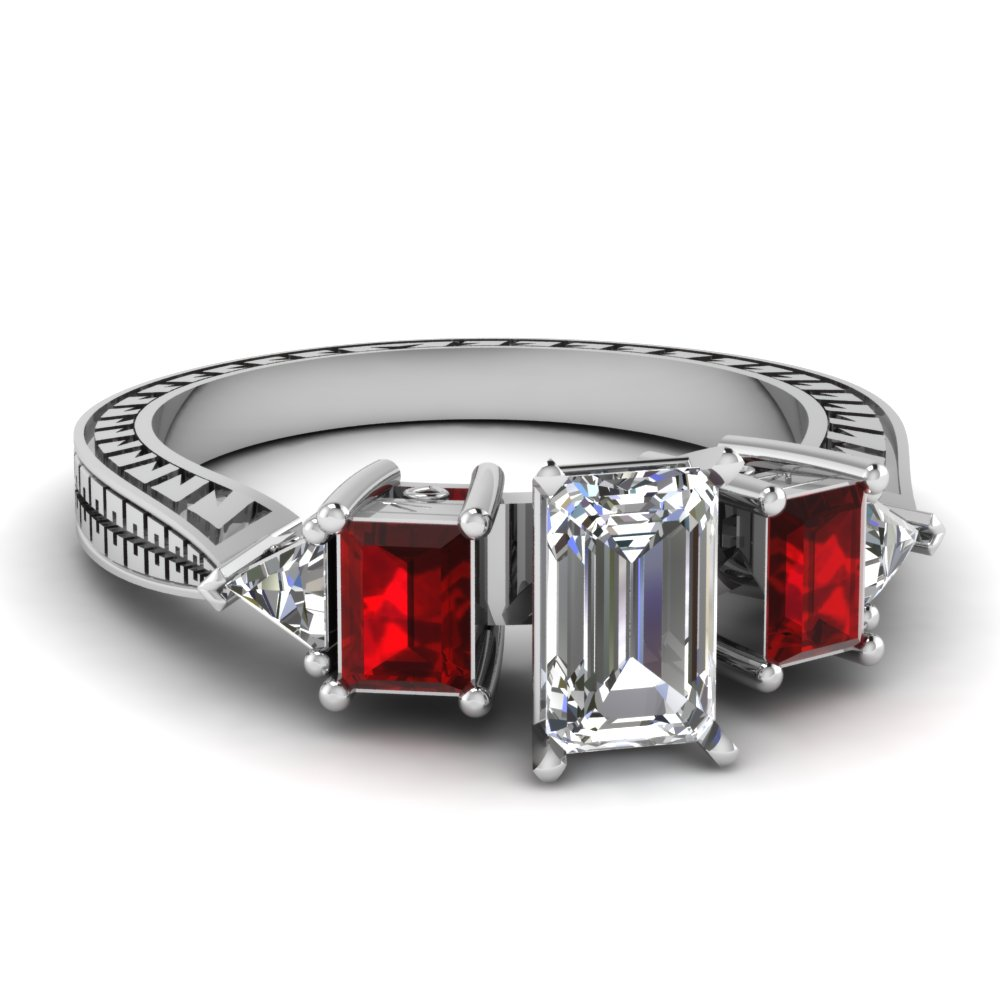 engraved trillion emerald cut diamond engagement ring with ruby in FDENR1196EMRGRUDR NL WG