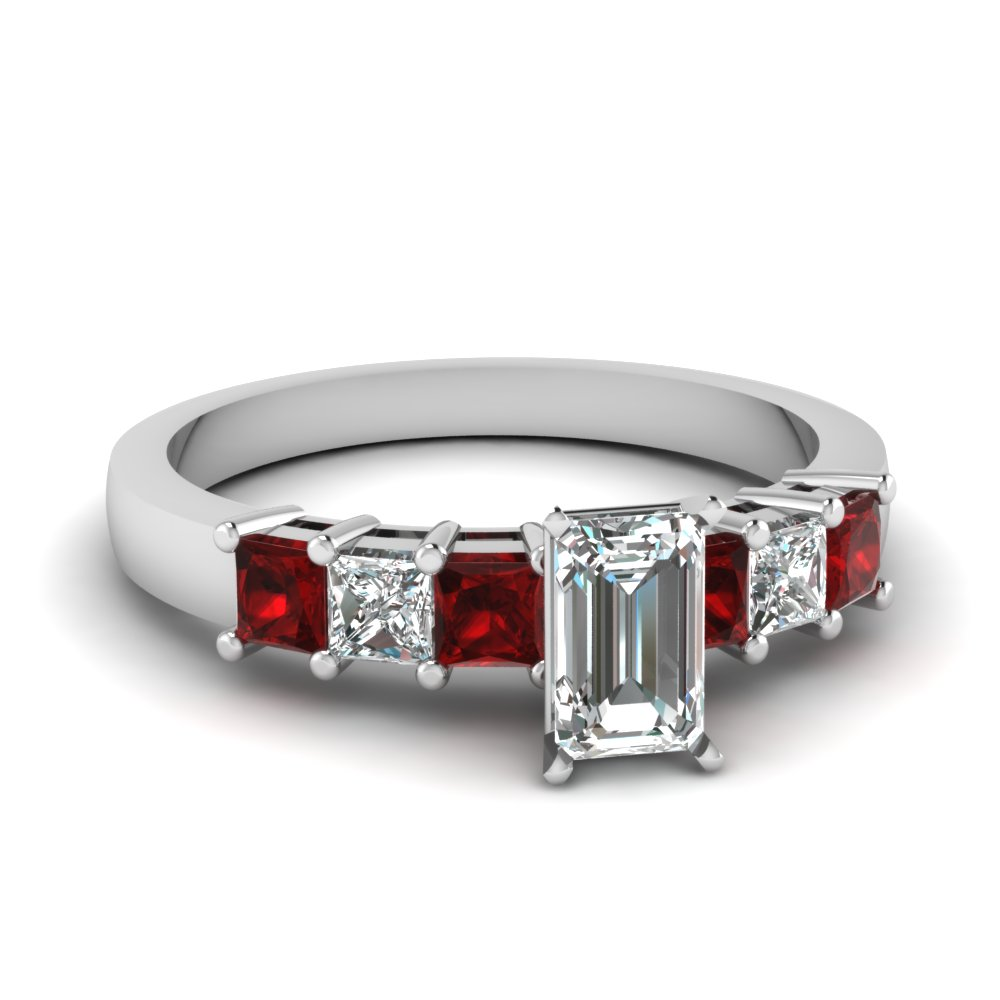 7 stone emerald cut diamond engagement ring with ruby in FDENS1027EMRGRUDR NL WG