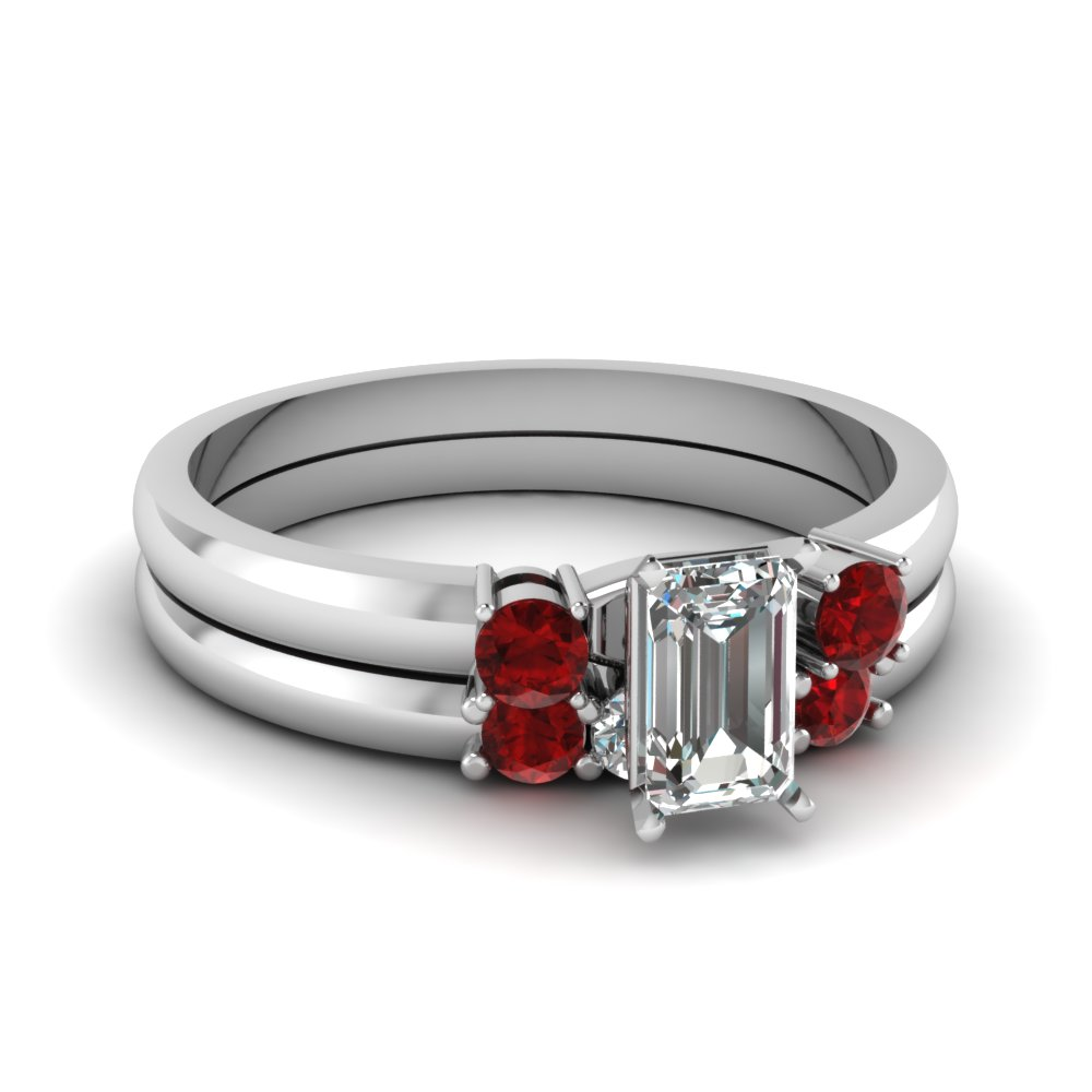 emerald cut diamond 3 stone wedding set with ruby in FDENS3106EMGRUDR NL WG