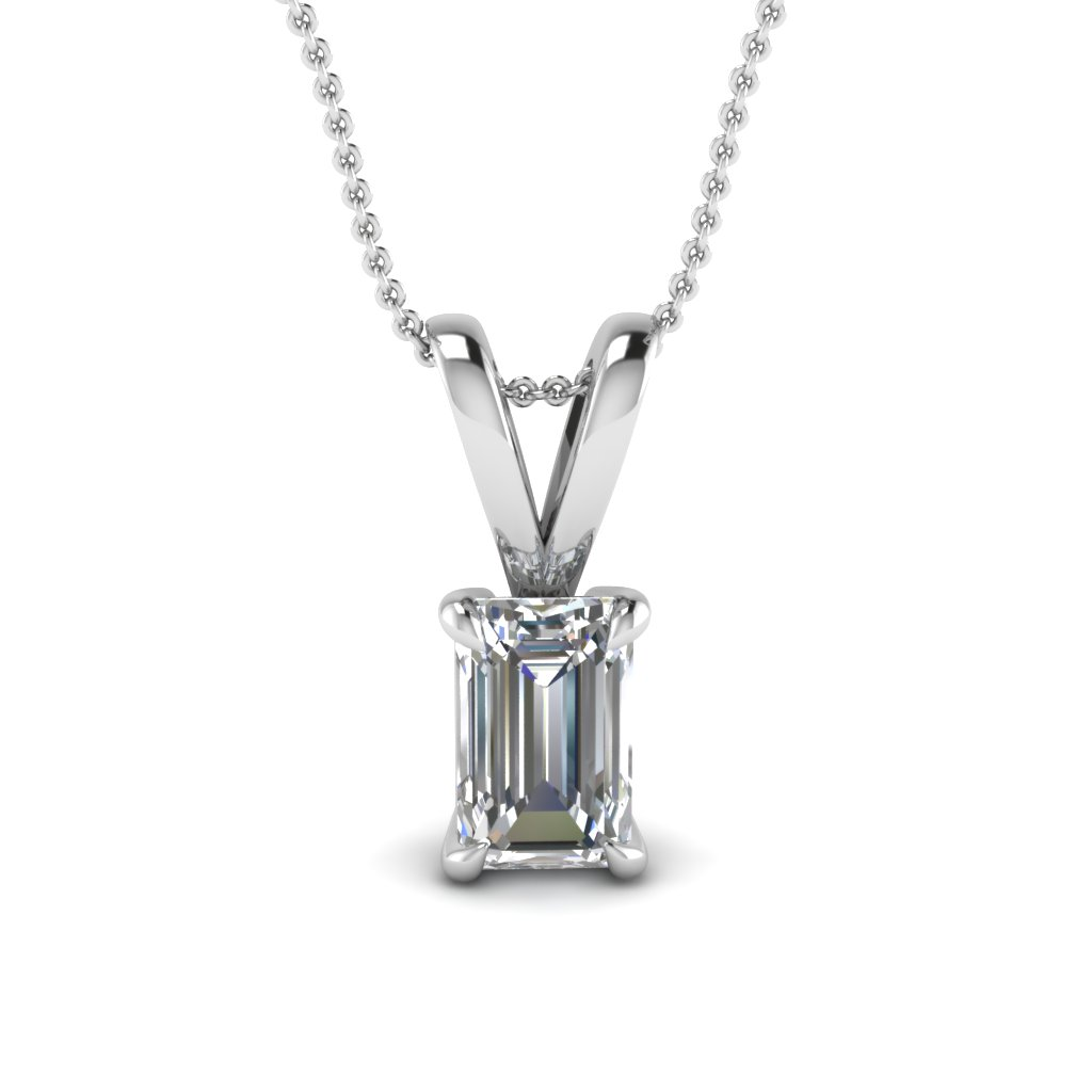 050 carat oval diamond solitaire pendant in white gold emerald cut diamond necklace aloadofball Choice Image
