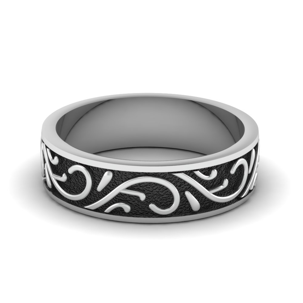 black engraved mens wedding band in FDHM345B NL WG